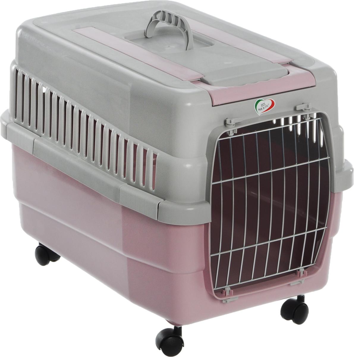 Переноска для животных IMAC Kim 60, на колесах, цвет: светло-серый, розовый, 60 х 40 х 45 см переноска для животных imac linus 50х32х34 5см коралловая