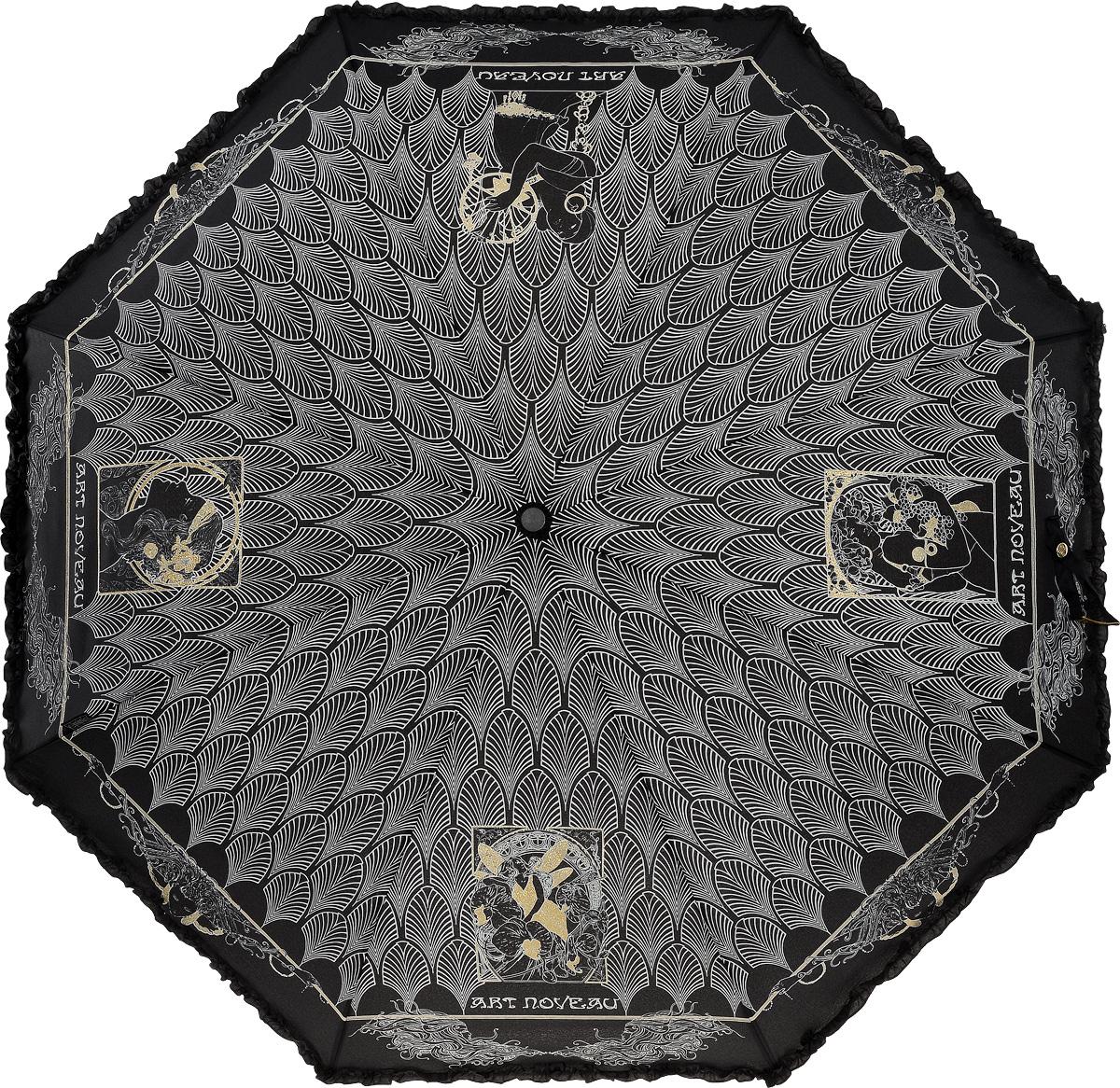 Зонт женский Emme, автомат, 3 сложения, цвет: черный, белый. Е/421B-ОС/Black