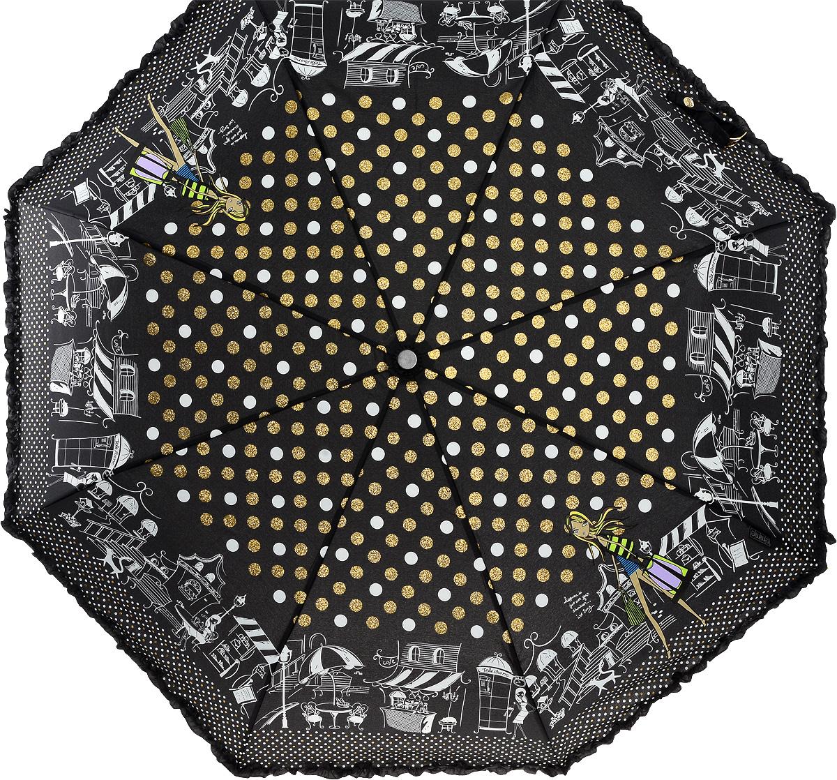 Зонт женский Emme, автомат, 3 сложения, цвет: черный, белый. Е/421A-ОС/Black