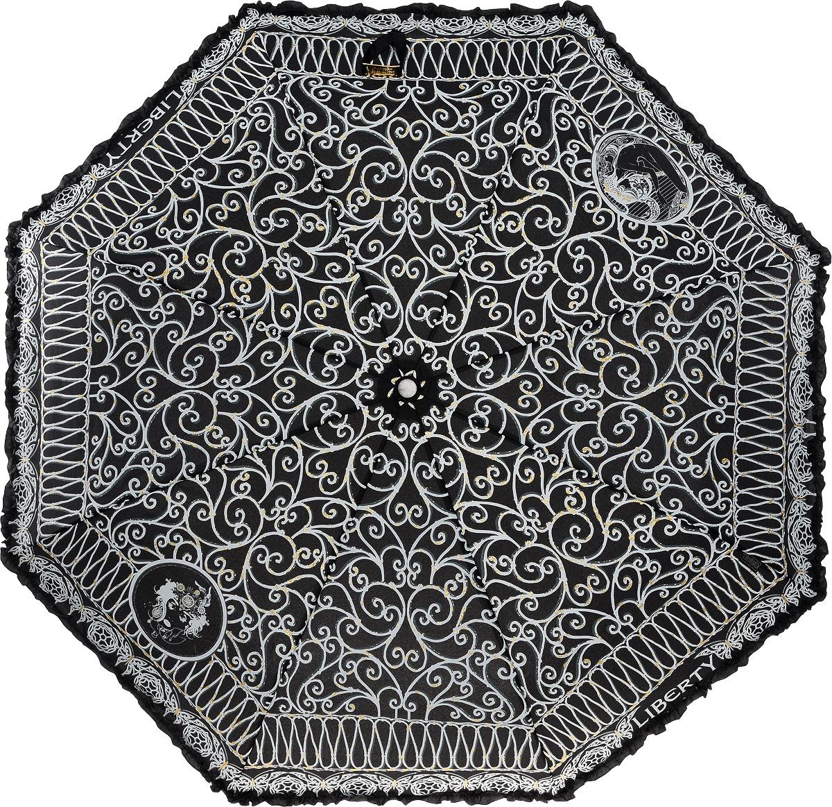 Зонт женский Emme, автомат, 3 сложения, цвет: черный, белый. Е/421C-ОС/Black