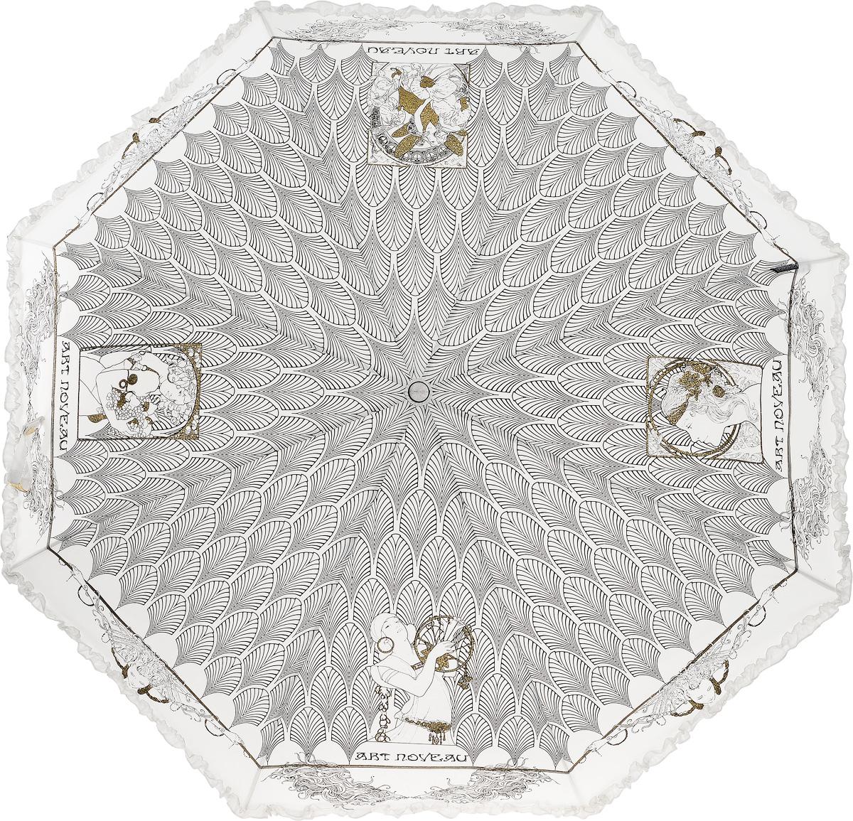 Зонт женский Emme, автомат, 3 сложения, цвет: белый, черный. Е/421B-ОС/White