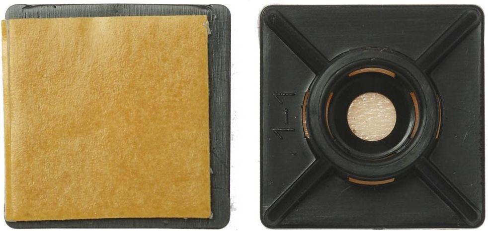 цена на Площадка под хомут Tech-Krep, самоклеящаяся, цвет: черный, 19х19, 40 шт