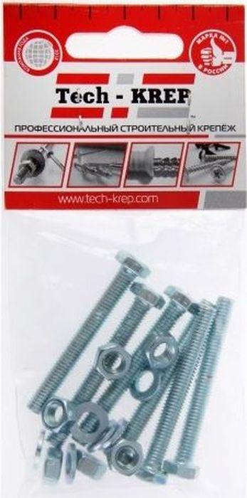 Болт оцинкованный Tech-Krep DIN933, с шестигранной головкой, М6 х 60, с гайкой и шайбой, 4 шт шпилька din976 с гайкой и шайбой м10x100 2шт