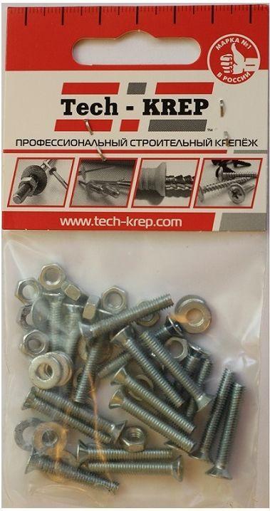 Винт оцинкованный Tech-KREP DIN965, с потайной головкой, M6 х 16, с гайкой, с шайбой, 10 шт набор крепления оборудования винт гайка клетевая шайба 50 шт nt sh m6 50
