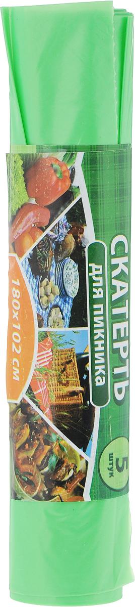 Скатерть одноразовая Хозяюшка Мила, цвет: салатовый, 102 х 180 см, 5 шт пакет для запекания хозяюшка мила 30 х 40 см 5 шт