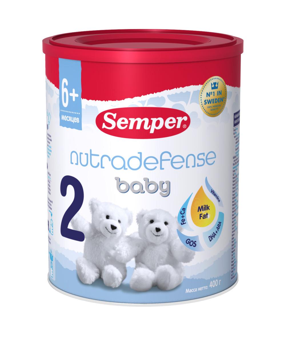 Semper ND Baby 2 смесь молочная с 6 месяцев, 400 г991424Последующая адаптированная молочная смесь последнего поколения с Milk fat (молочный жир), который натуральным образом присутствует в грудном молоке и крайне необходим для здорового развития ребёнка. Доказано результатами многочисленных исследований: молочный жир – важная составляющая грудного молока, его компоненты связаны с развитием мозга, иммунитета и когнитивного развития