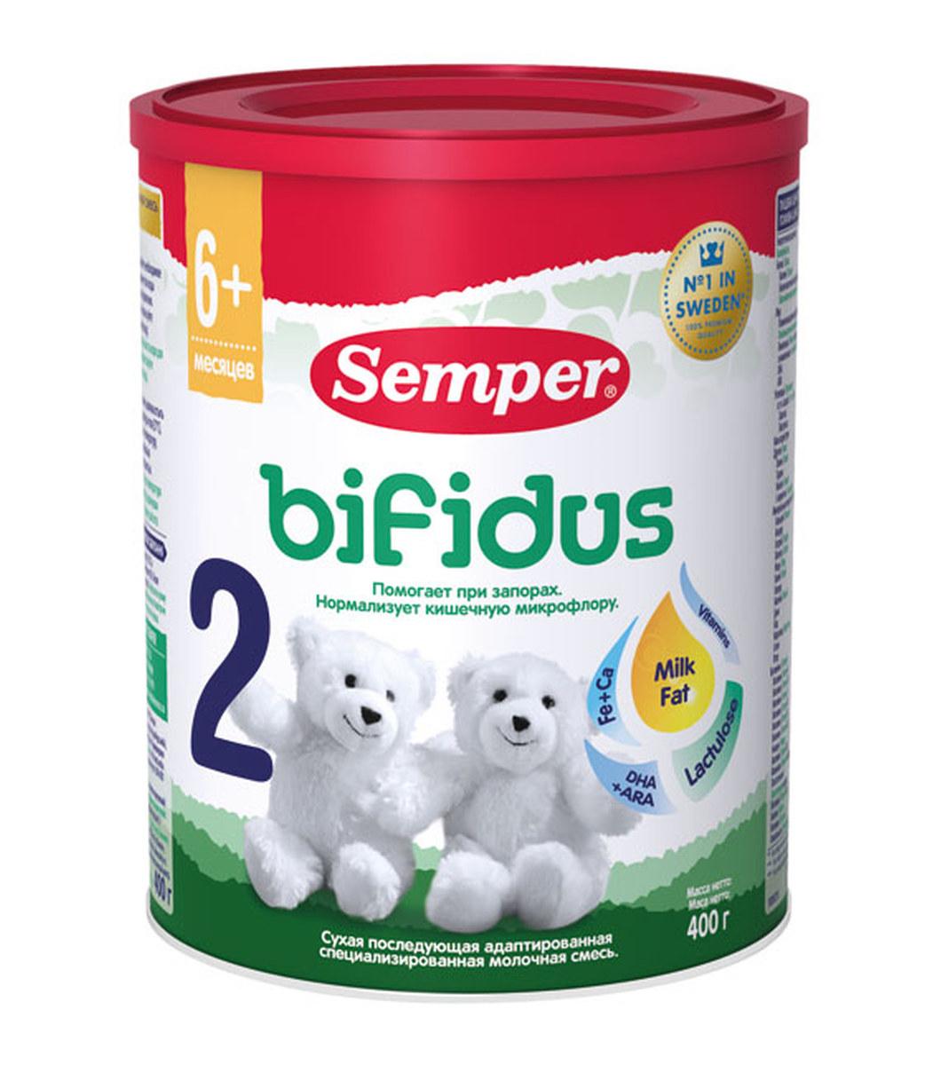 Semper Bifidus 2 смесь молочная с 6 месяцев, 400 г молочная продукция агуша молоко стерилизованное с пребиотиком 2 5% 200 мл