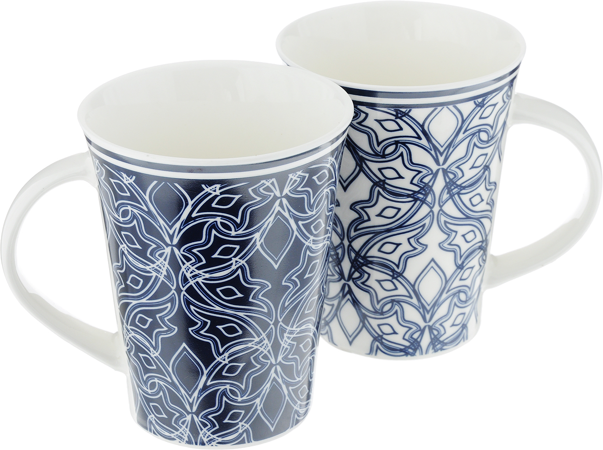 Набор кружек Elan Gallery Изящный узор, цвет: белый, синий, 320 мл, 2 шт berholm spasb00b04