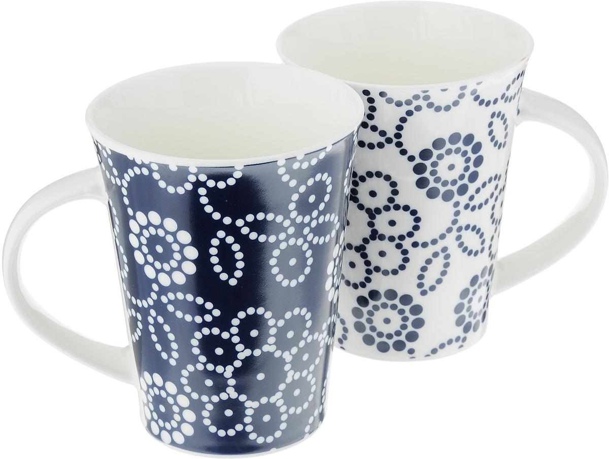 Набор кружек Elan Gallery Цветы, цвет: белый, синий, 320 мл, 2 шт набор цветных кружек elan gallery сова для глинтвейна коктейля 300105