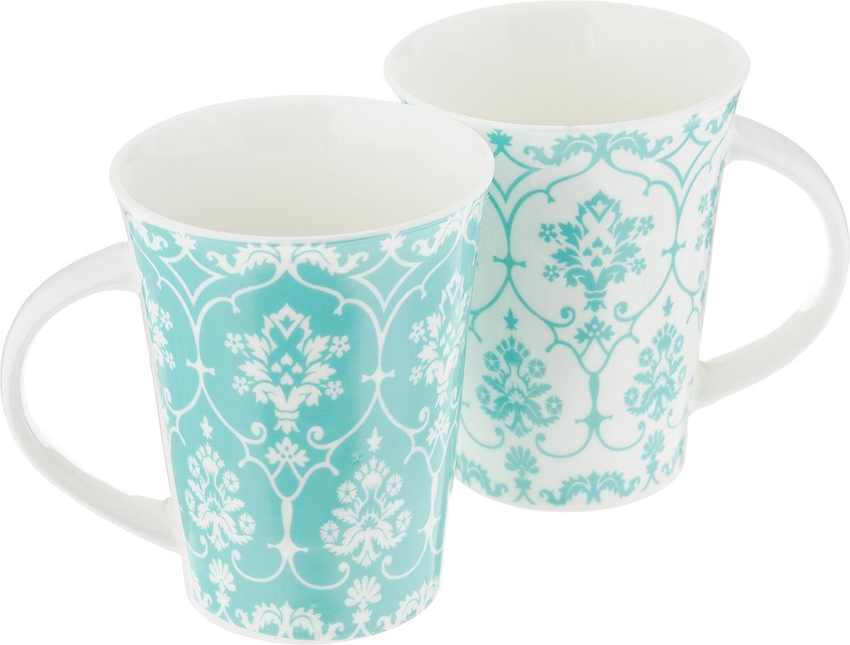 Набор кружек Elan Gallery Дамаск, цвет: белый, бирюзовый, 320 мл, 2 шт набор цветных кружек elan gallery сова для глинтвейна коктейля 300105