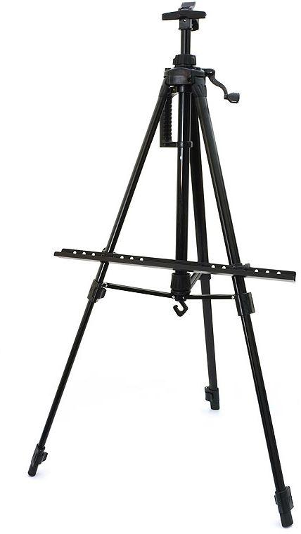 """Мольберт-тренога """"Белоснежка"""", телескопический, цвет: черный, 55-155 см"""
