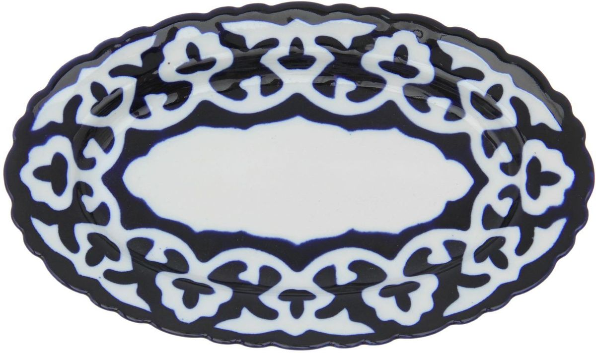 Фото - Тарелка Turon Porcelain Пахта, цвет: синий, белый, 30 х 17 см тарелка turon porcelain атлас цвет белый синий золотистый диаметр 22 5 см
