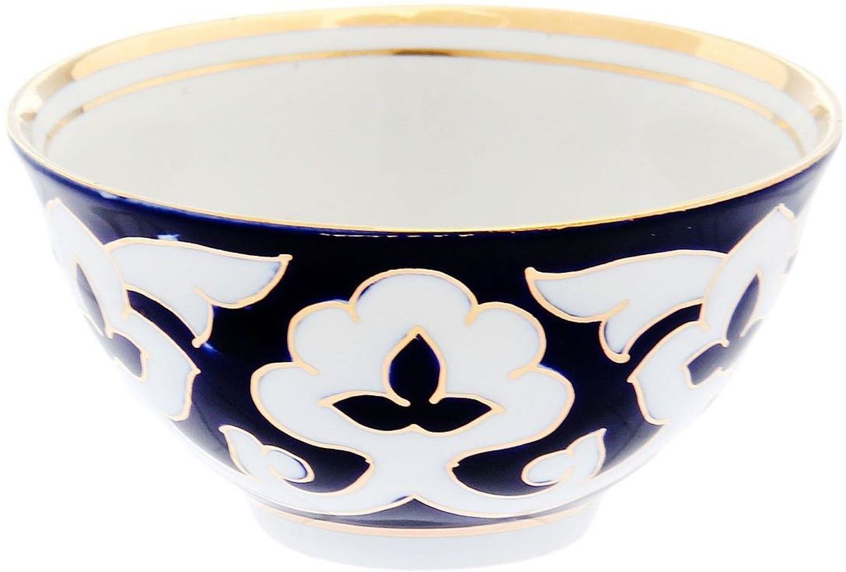 Фото - Пиала Turon Porcelain Пахта, цвет: синий, белый, золотистый, 250 мл тарелка turon porcelain атлас цвет белый синий золотистый диаметр 22 5 см
