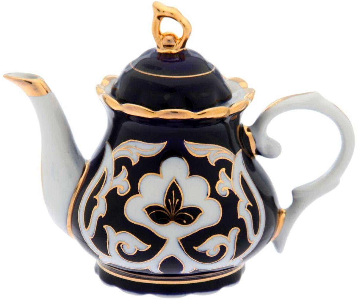 Фото - Чайник заварочный Turon Porcelain Пахта, цвет: синий, белый, золотистый, 800 мл тарелка turon porcelain атлас цвет белый синий золотистый диаметр 22 5 см