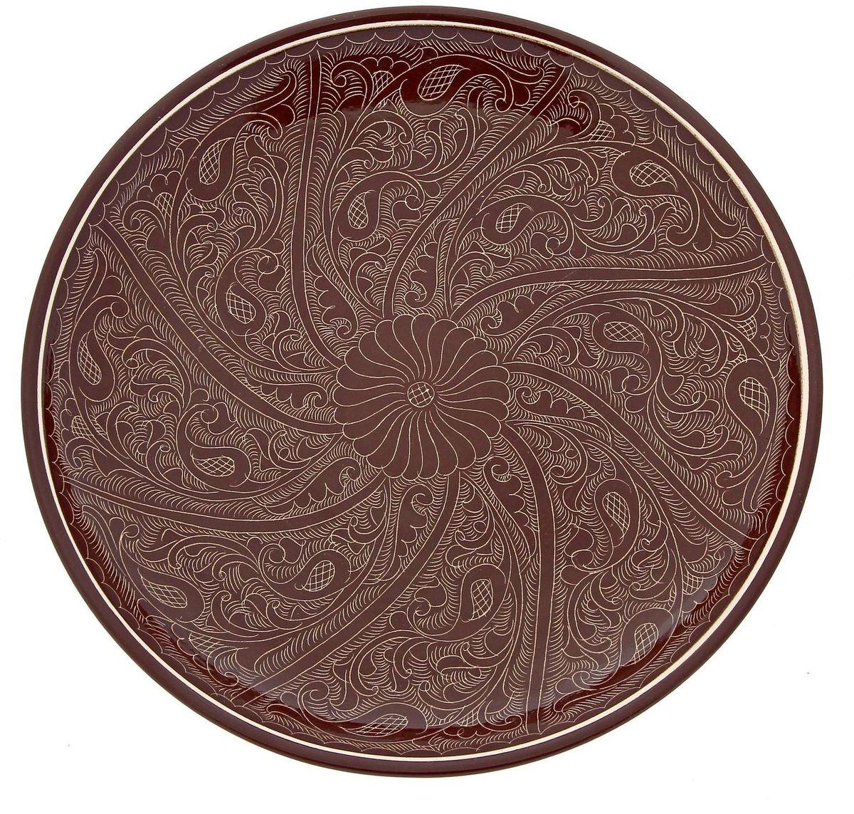 """Ляган """"Риштанская керамика"""", цвет: коричневый, диаметр 31 см. 1923454"""