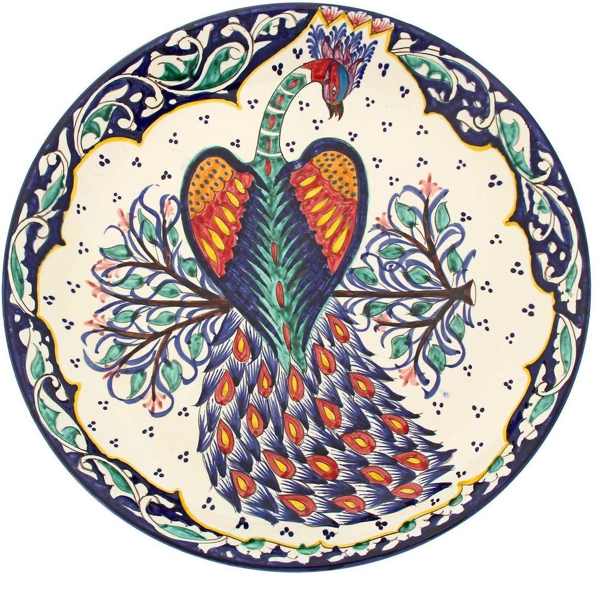 """Ляган Риштанская керамика """"Павлин"""", цвет: синий, белый, зеленый, диаметр 36 см"""