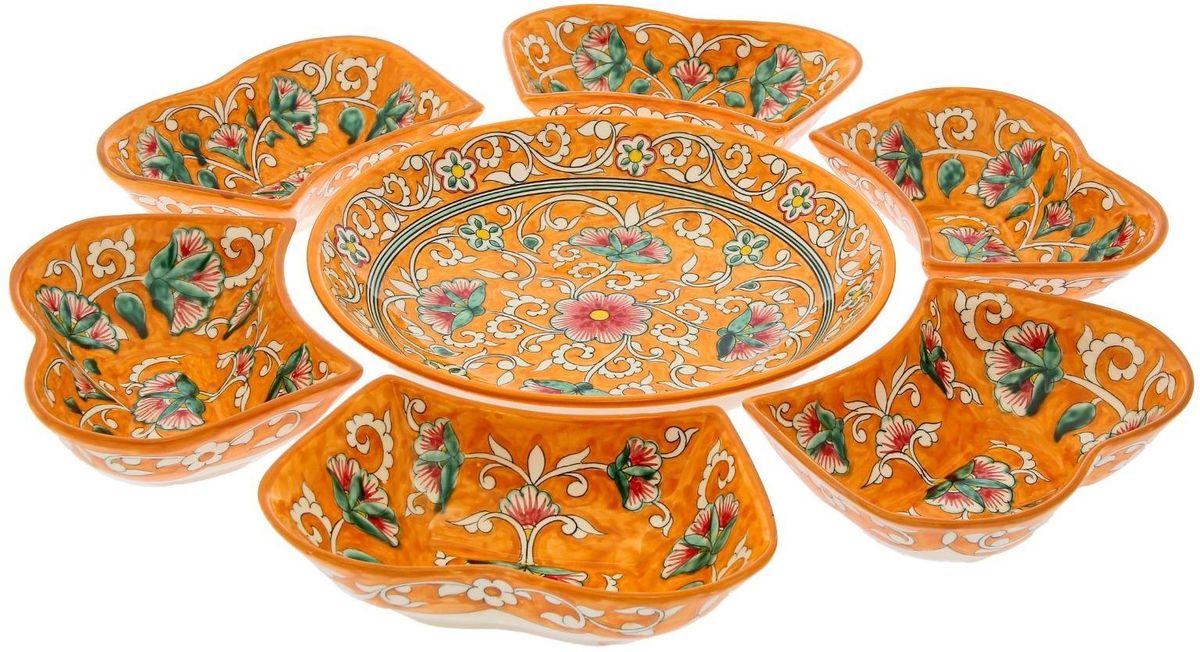 """Набор салатников """"Риштанская керамика"""", цвет: оранжевый, 7 предметов"""