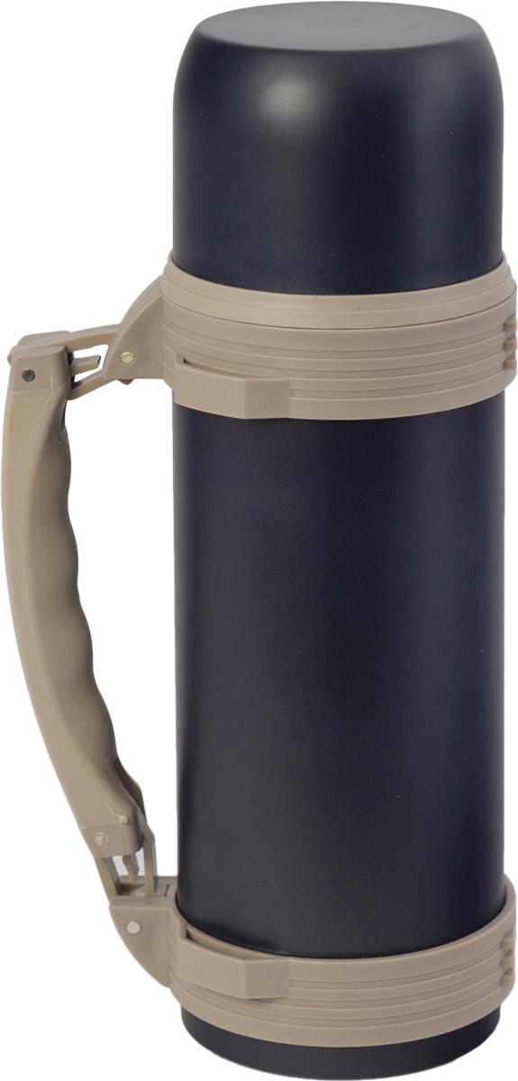 Термос Indiana WD 3605, со складной ручкой, цвет: черный, бежевый, 1,2 л320400037Термос Indiana WD 3605, выполненный из нержавеющей стали и пластика, позволяет сохранять напитки горячими и холодными длительное время. Термос надежно закрывается пластиковой пробкой, которая снабжена кнопкой для дозирования напитков, позволяющая наливать жидкости без отвинчивания. Прочная эргономичная складная ручка делает использование термоса легким и удобным. Термос Indiana WD 3605 отлично подойдет для хранения и транспортировки жидкостей.