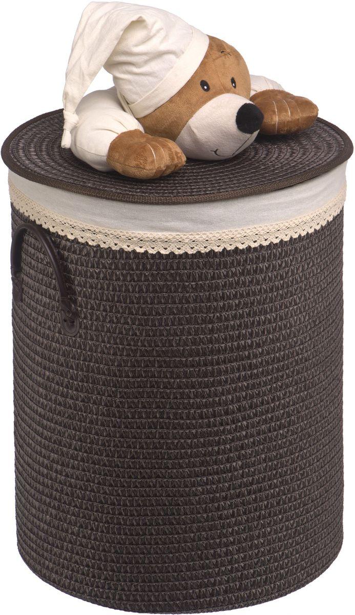 Корзина для белья Natural House Медвежонок, цвет: черный, коричневый, 42 x 42 x 55 см корзина для белья natural house медвежонок 33 21 28 см