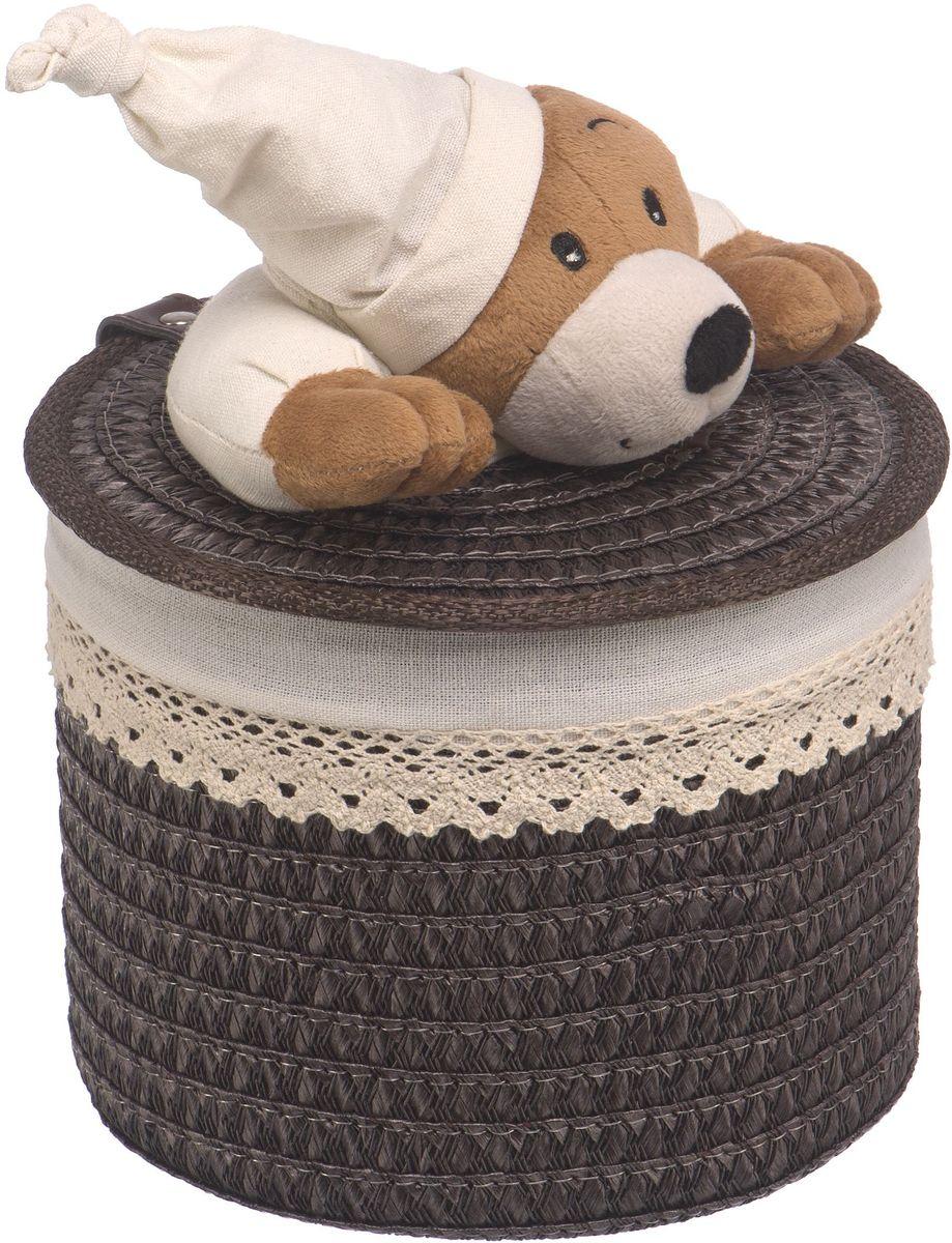 Корзина для белья Natural House Медвежонок, цвет: коричневый, 20 x 20 x 16 см корзина для белья natural house медвежонок 33 21 28 см