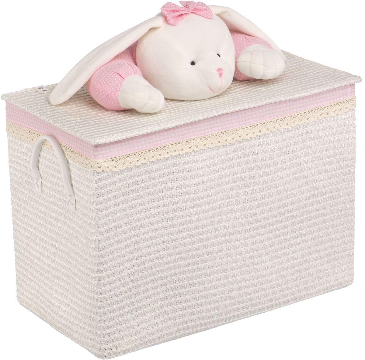Корзина для белья Natural House Зайчик, цвет: белый, 55 x 32 x 40 см игрушки для новорожденных зайчик