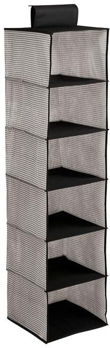 Кофр для хранения Handy Home Пепита, подвесной, 6 секций, цвет: серый, черный, 30 х 30 х 120 см кофр подвесной мишка 6 секций handy home uc 104 120х30х30 см