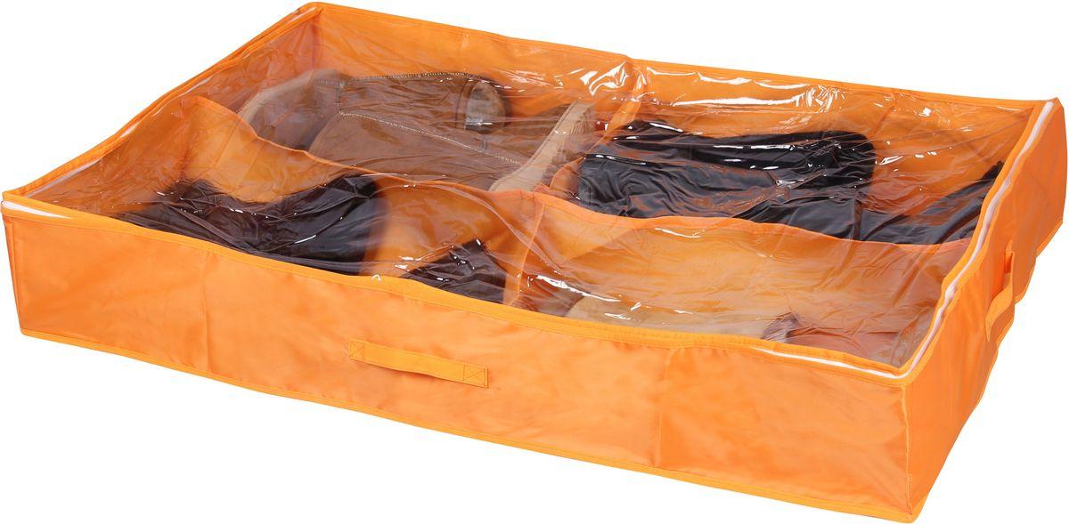 Кофр для хранения обуви Handy Home Апельсин, складной, 4 секции, цвет: оранжевый, 94 х 60 х 15 смUC-35Кофр для хранения обуви Handy Home Апельсин выполнен из полиэстера. Занимает минимум места в сложенном виде. Подходит для хранения обуви и других вещей. Короб снабжен прозрачным окошком, что позволяет легко просматривать содержимое. Размер: 94 х 60 х 15 см.