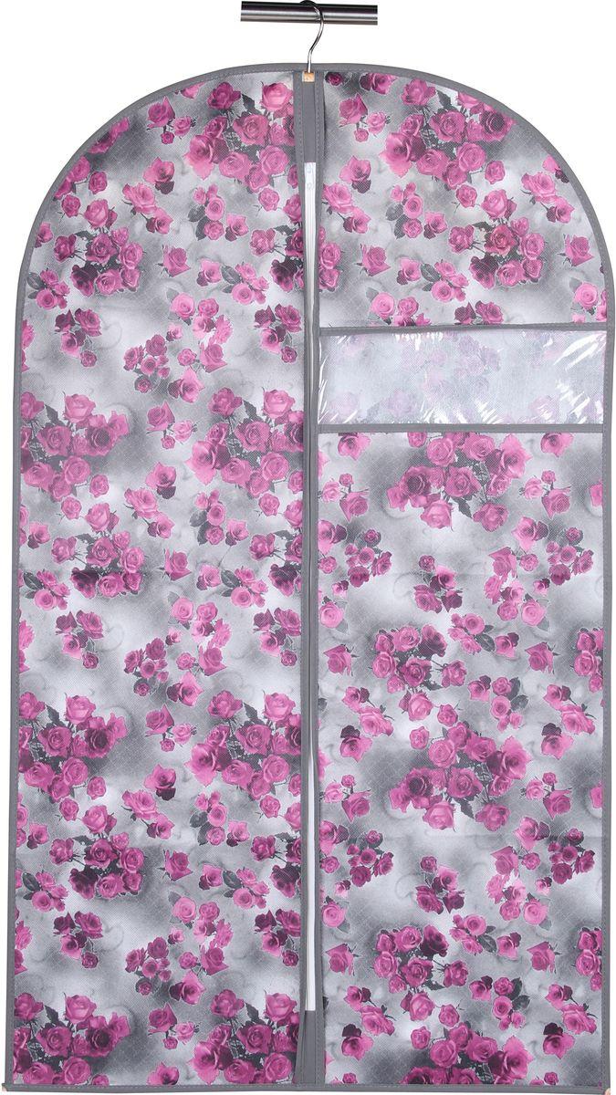 Чехол для одежды Handy Home Роза, цвет: серый, фиолетовый, 60 х 100 см чехол для одежды handy home лен цвет бежевый 60 х 135 см