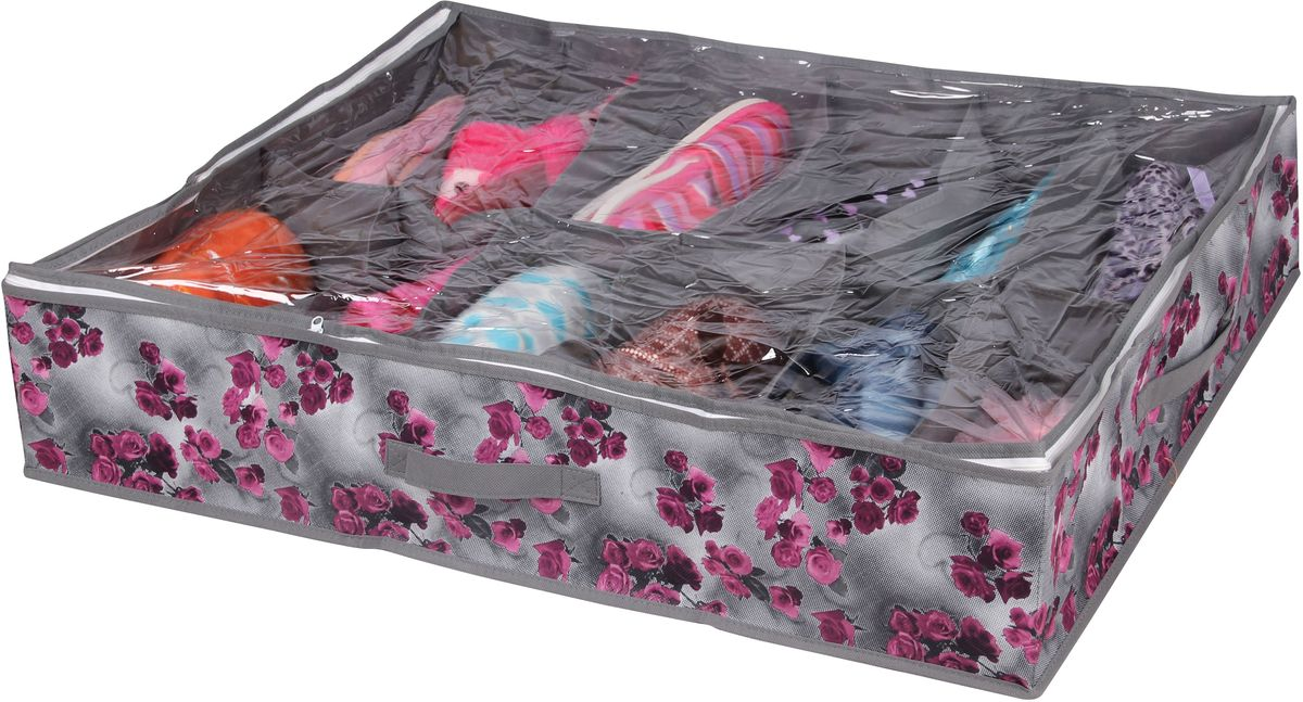 Короб для хранения Handy Home Роза, 12 секций, цвет: серый, фиолетовый, 75 х 60 х 15 см короб для хранения обуви handy homeроза 4 секции 94 х 60 х 15 см