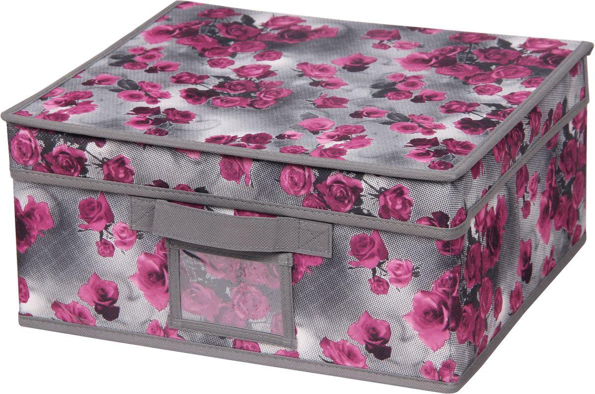 Короб для хранения Handy Home Роза, складной, с крышкой, 33 х 28 х 15 см короб для хранения обуви handy homeроза 4 секции 94 х 60 х 15 см