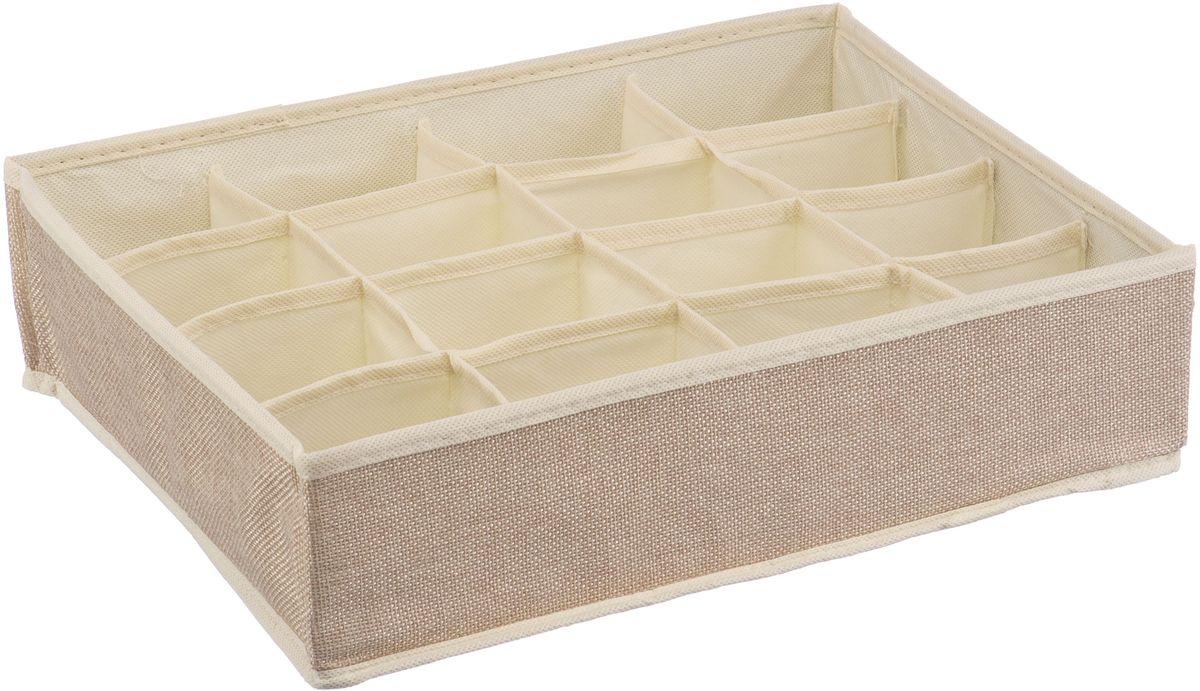 Короб для хранения Handy Home Лен, 16 секций, цвет: бежевый, 35 х 27 х 9 см короб для хранения handy home складной без крышки цвет белый 21 х 15 х 15 см