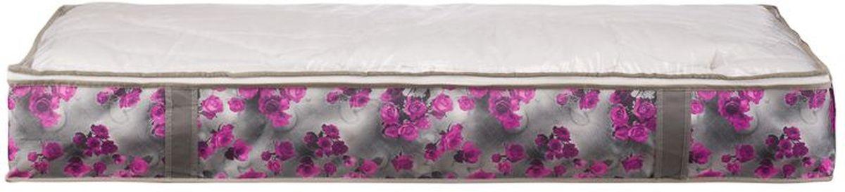 Короб для хранения Handy Home Роза, складной, цвет: серый, фиолетовый, 107 х 46 х 15 см короб для хранения handy home складной без крышки цвет белый 21 х 15 х 15 см