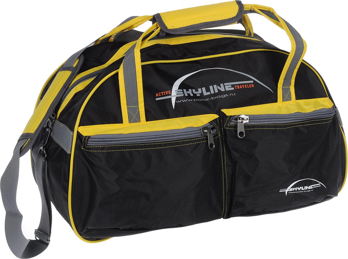 Сумка спортивная Polar Скайлайн, цвет: черный, желтый, серый, 53 л. П05/6 сумка спортивная polar п05 6 черно серый серая стропа скайлайн