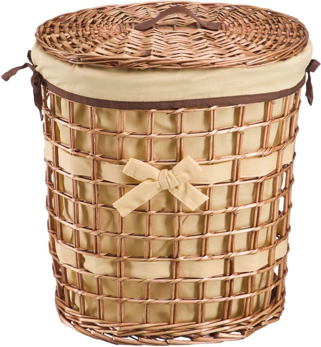 Корзина для белья Natural House Бантик, цвет: коричневый, 49 х 36 х 55 см корзина для белья natural house лаванда высокая цвет белый 48 х 36 х 55 см