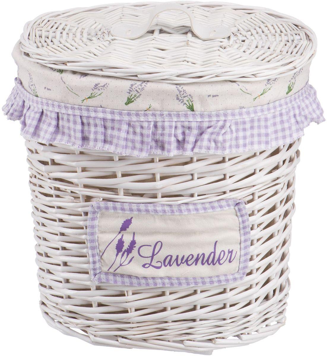 Корзина для белья Natural House Лаванда, высокая, цвет: белый, 32 х 21 х 36 см корзина для белья natural house лаванда высокая цвет белый 48 х 36 х 55 см