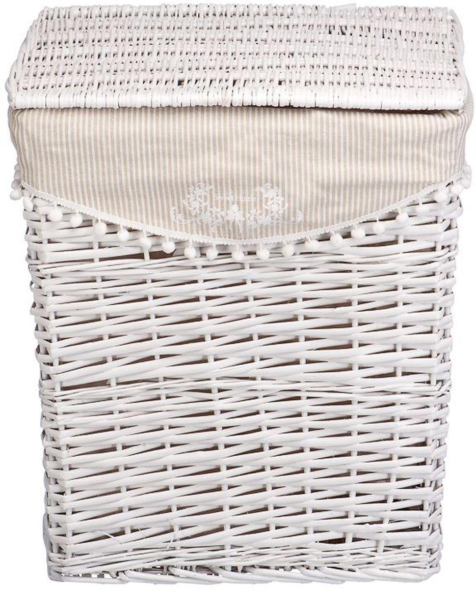 Корзина для белья Natural House Колокольчик, цвет: белый, 47 х 35 х 55 см корзина для белья natural house лаванда высокая цвет белый 48 х 36 х 55 см