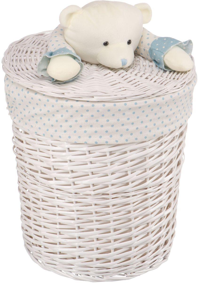 Корзина для белья Natural House Медвежонок, цвет: молочный, голубой, 37 х 37 x 40 см корзина для белья natural house медвежонок 33 21 28 см