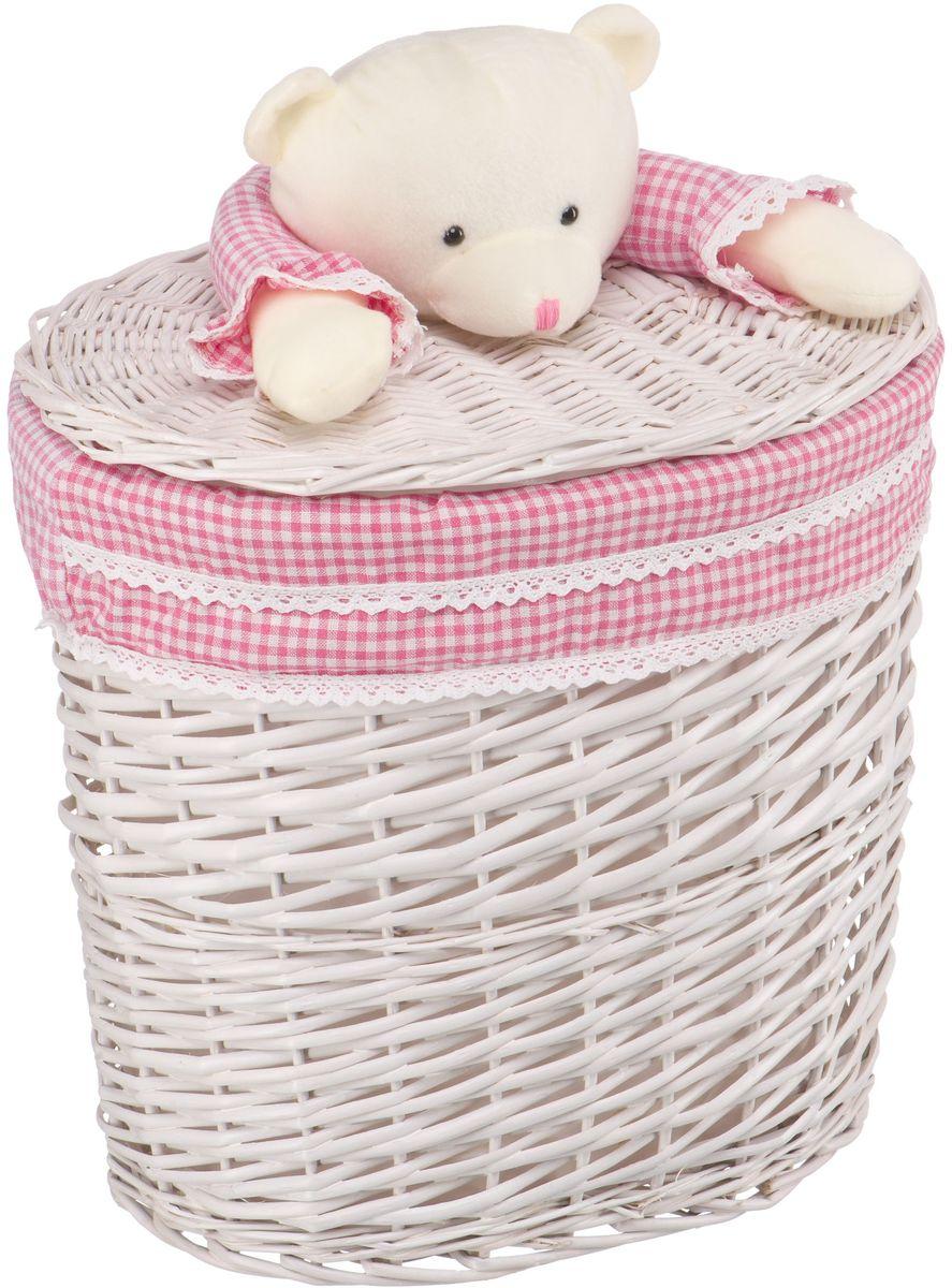 Корзина для белья Natural House Медвежонок, цвет: молочный, розовый, 41 x 29 x 40 см корзина для белья natural house медвежонок 33 21 28 см