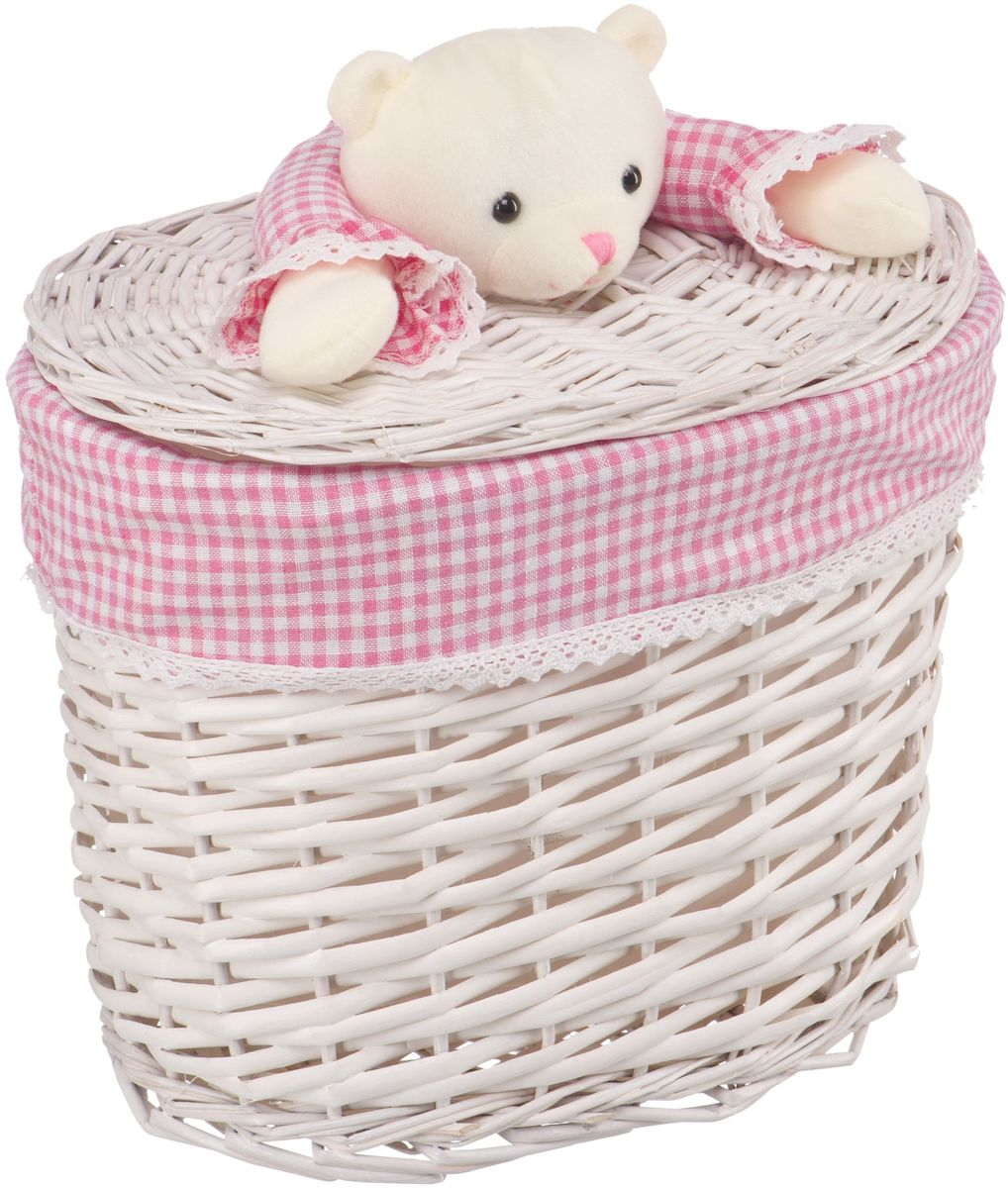 Корзина для белья Natural House Медвежонок, цвет: молочный, розовый, 33 x 21 x 28 см корзина для белья natural house медвежонок 33 21 28 см