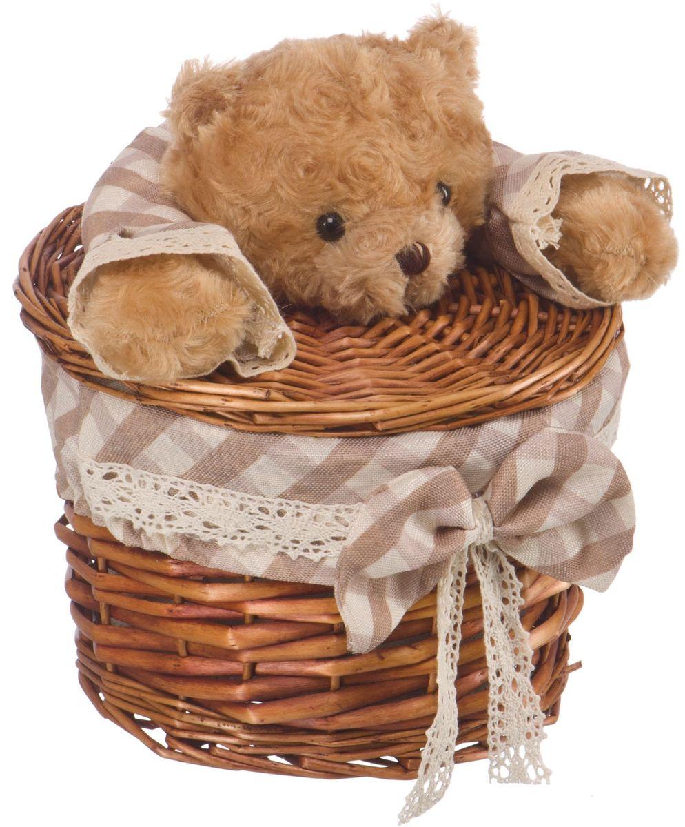 Корзина для белья Natural House Медвежонок, цвет: коричневый, 21 х 21 x 16 см корзина для белья natural house медвежонок 33 21 28 см
