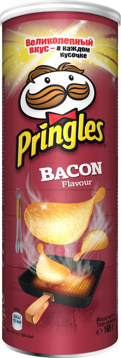 Фото - Pringles картофельные чипсы со вкусом бекона, 165 г pringles картофельные чипсы со вкусом краба 70 г