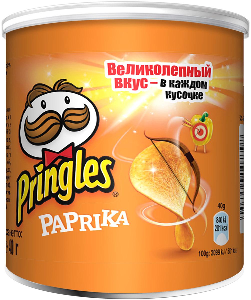 Фото - Pringles картофельные чипсы со вкусом паприки, 40 г pringles картофельные чипсы со вкусом краба 70 г