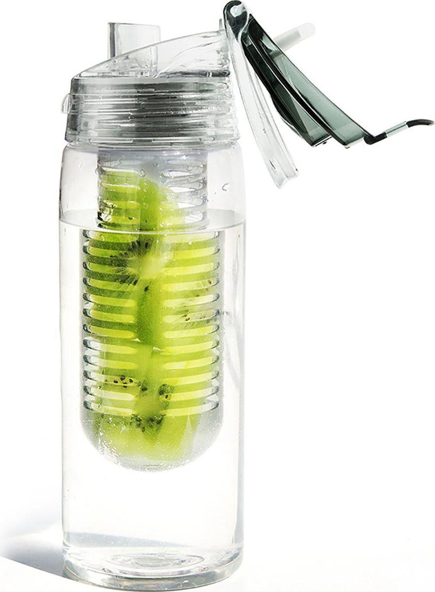 Бутылка Asobu Flavour it 2 go, цвет: серый, 600 мл
