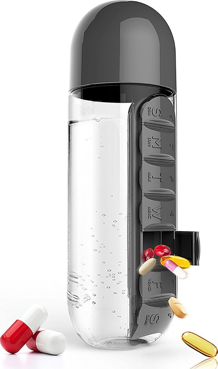 Бутылка Asobu In style pill organizer bottle, цвет: черный, 600 мл бутылка для воды migliores пластиковая с органайзером для таблеток прозрачный черный