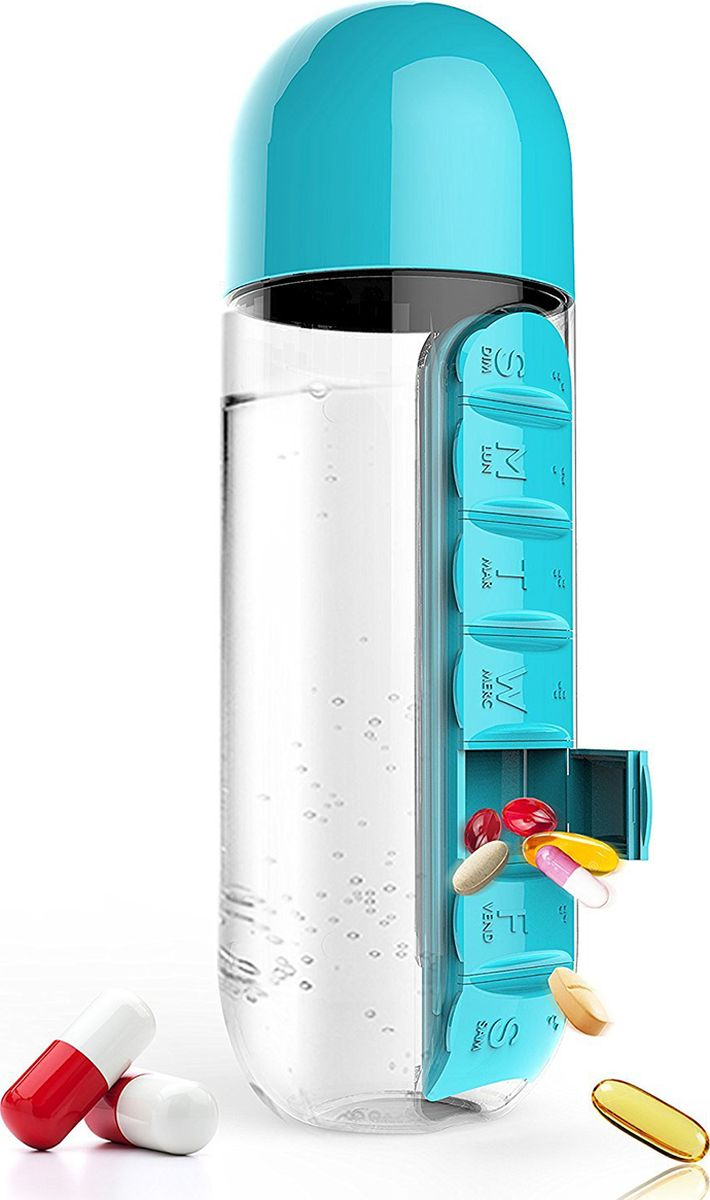 Бутылка Asobu In style pill organizer bottle, цвет: голубой, 600 мл бутылка для воды migliores пластиковая с органайзером для таблеток прозрачный черный