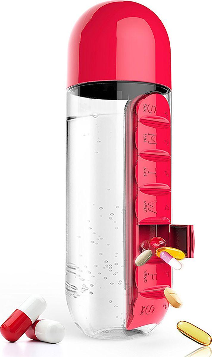 Бутылка Asobu In style pill organizer bottle, цвет: красный, 600 мл бутылка для воды migliores пластиковая с органайзером для таблеток прозрачный черный