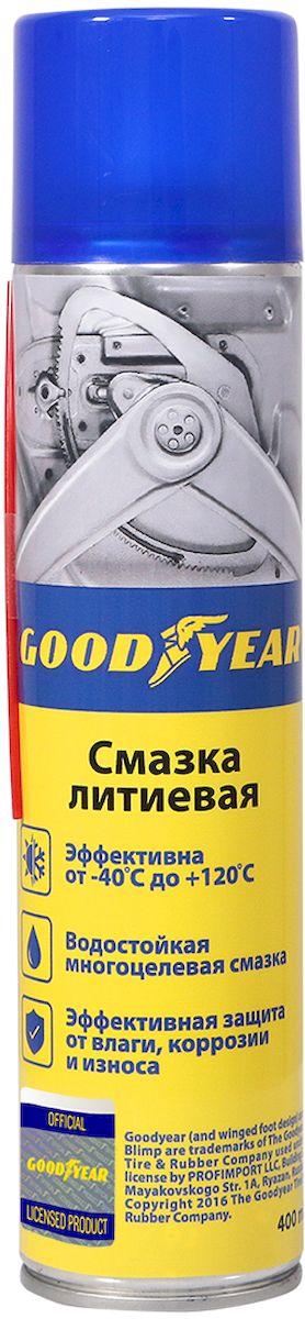 Смазка литиевая Goodyear, аэрозоль, 400 мл смазка автомобильная fill inn литиевая аэрозоль 140 мл