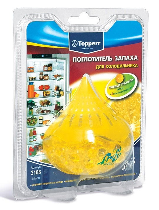 Поглотитель запаха для холодильника Topperr Лимон, гелевый поглотитель запаха для холодильника topperr шар 3 шт