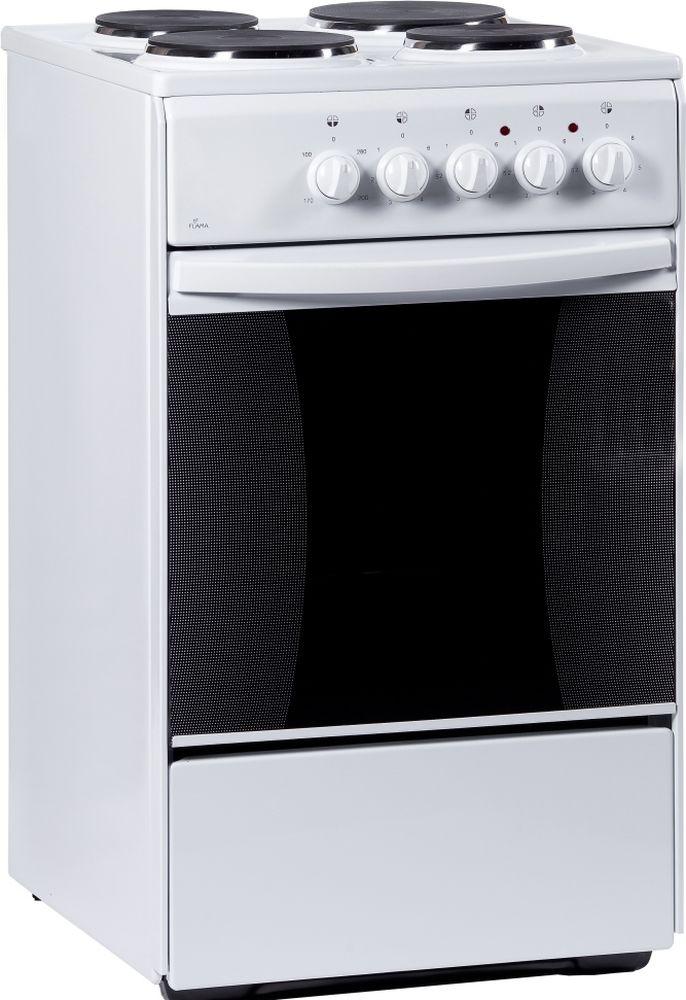 Flama AE 1403 W, White плита электрическаяAE 1403 WЭлектрическая плита Flama AE 1403 W оснащена варочной поверхностью с 4 конфорками и вместительной духовкой. Варочная поверхность выполнена из эмалированной стали. Мощность нагрева регулируется при помощи поворотных переключателей. В духовке имеется ящик для хранения посуды. Мощность конфорок: 1 кВт, 1,5 кВт, 1,5 кВт, 1 кВт. Мощность духовки: 2 кВт. Режимы духовки: верхний ТЭН 800 Вт, нижний ТЭН 1200 Вт. Крупногабаритный товар.,Рекомендуем!