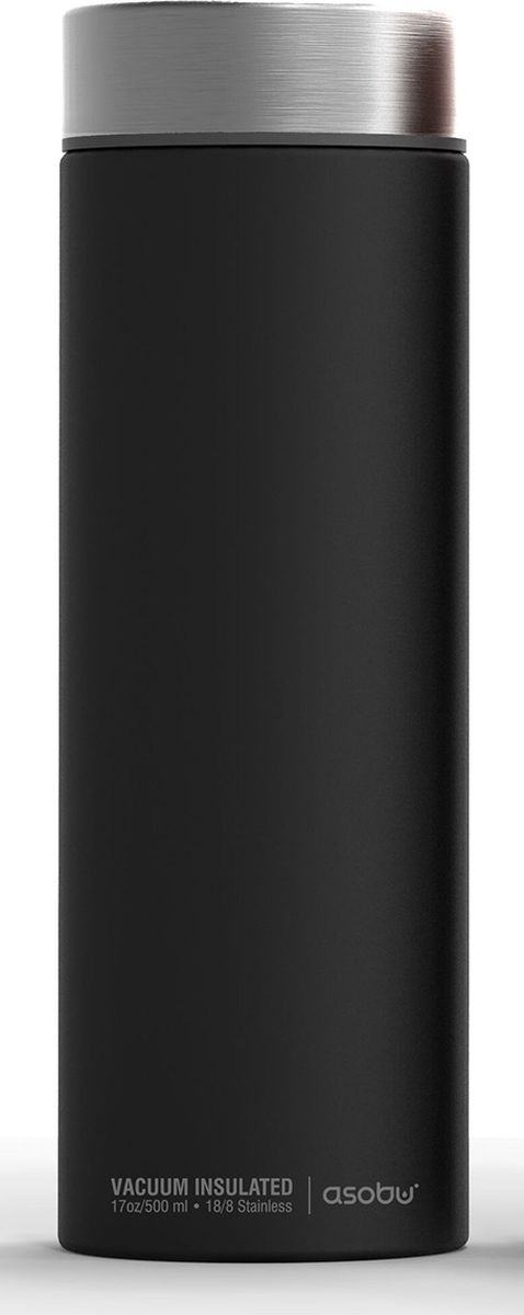 Термос Asobu Le Baton Travel Bottle, цвет: черный, стальной, 500 мл